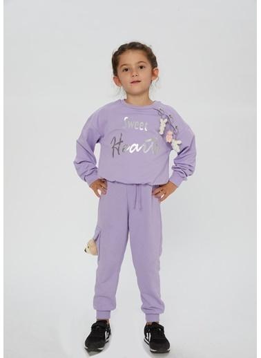 Little Star Little Star Kız Çocuk Omuz Detaylı Sweatshirt Lila